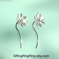 unique cute earwire stem with silver flower by RingRingRing