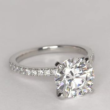 3.05 ct. Center Diamond Petite Pavé Diamond Engagement Ring | Recently Purchased | Blue Nile