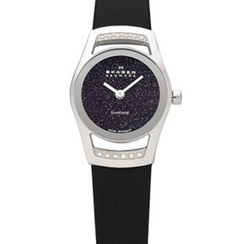 Skagen Ladies Cocktail - Diamonds - Blue Goldstone Dial - Black Leather Strap