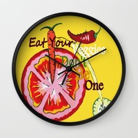 Don't Be A Vegetable Wall Clock by Kathleen Sartoris