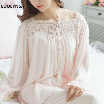 ONETOW Lace Pajama Sets 2017 Long Sleeve Sleepwear Sexy Women Character Home Wear Vintage Indoor Clothing Pyjamas For Women #H324