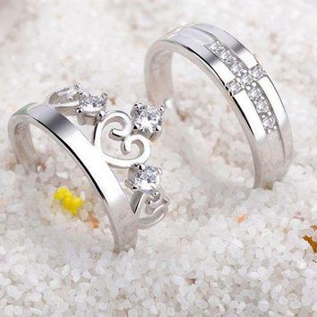ac spbest Sterling silver couple rings fashion crown diamond ring
