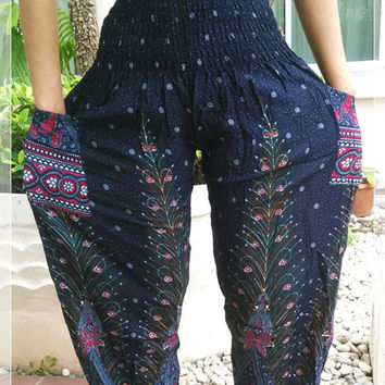 Blue Peacock Printed Yoga Pants Hippie Baggy Boho Style Gypsy Thai Pantaloons Tribal Hipster Plus Size Aladdin Clothing Beach Baggy Trousers