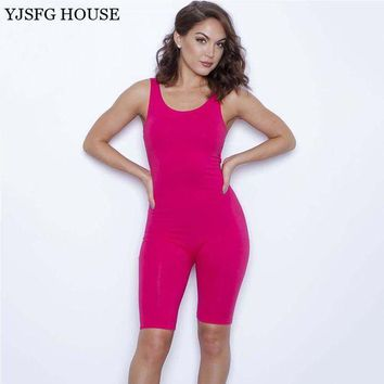 CREYCI7 YJSFG HOUSE Summer Solid Sexy Jumpsuits O-Neck Sleeveless Dancing Rompers Women Bodysuits Midi Skinny Pants Bodysuits Playsuit