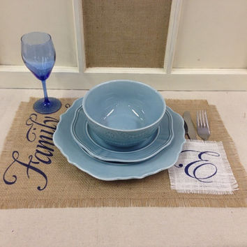 Burlap Placemat set of 4, 6 or 8 with Family & an initial on a white burlap pocket
