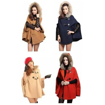 Shawl Wool Hooded Poncho Cape Coat Winter Jacket