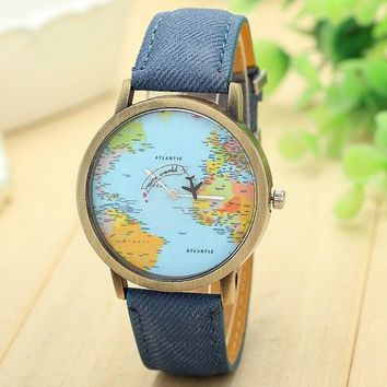 Top Brand Watch For Men Global Travel By Plane Map Dial Wrist Watches Mens Vintage Denim Leather Analog Quartz Watch Reloj #S