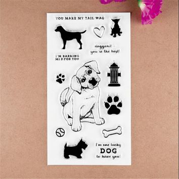 2017 new 11X20cm CUTE DOG Scrapbook DIY Photo Album Account Transparent Silicone Rubber Clear Stamps