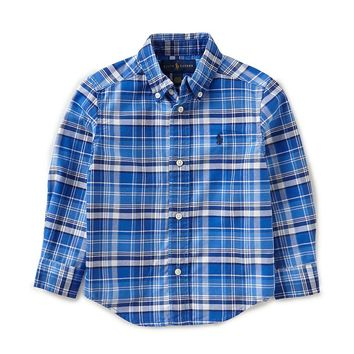 Ralph Lauren Childrenswear Little Boys 2T-7 Long-Sleeve Checked Oxford Shirt | Dillards