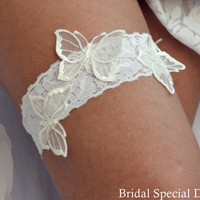 Lace Wedding Garter White Bridal Garter With Butterfly Appliques- Handmade