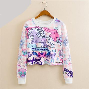Long Sleeves Crop Top Collection - Unicorn Cat Giraffe Donut Pug