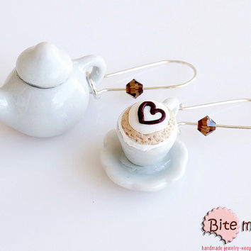 Polymer Clay Jewelry Cappuccino Pottery Set Earrings, Mini Food, Polymer clay Sweets, Miniature Food, Foodie, Handmade Earrings