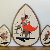 Vintage Mid Century Triptych Bullfighter Toreador Plaques, Wall Hanging, Wall Decor Illinois Moulding Co.