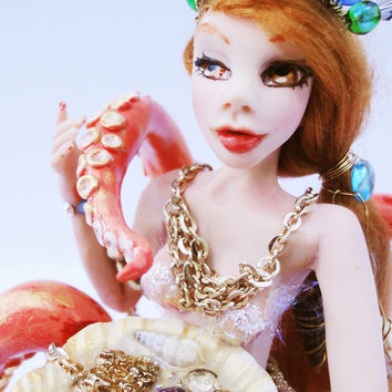 OOAK Doll, Hand Sculpted, Octopus Tentacle, Octopus Art, Unusual Animal Art, Mermaid Art,  Polymer Clay, OOAK Art Doll, Fantasy art