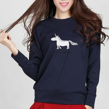 l am unicorn letter print long sleeve women harajuku hip hop fashion brand horse animal sweatshirt hipster lady hippie hoodies