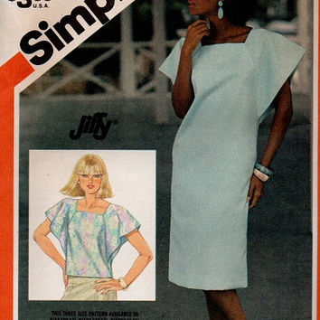 80 New Wave Retro Simplicity Sewing Pattern Loose Fit Butterfly Flutter Sleeve Square Neck Angular Dress Blouse Shirt Tunic Uncut Bust 34 38