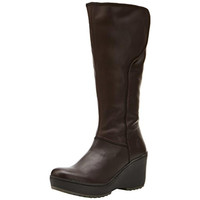 FLY London Womens Mant Leather Knee-High Wedge Boots