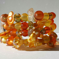 Orange Sunshine Bracelet, 5 Rows, Fiery Arm Candy, Yellow Gold Pearls, Beaded Jewelry