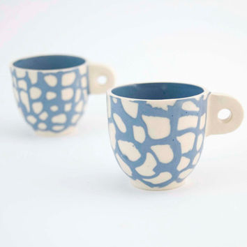 Espresso cups set  - unique handmade serving decorative textured kitchen pottery morning coffee - blue