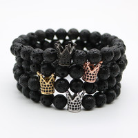 Mens Kings Crown Power Bracelets Black Onyx or Lava