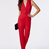 Missguided - Sheer Back Tuxedo Style Jumpsuit Red