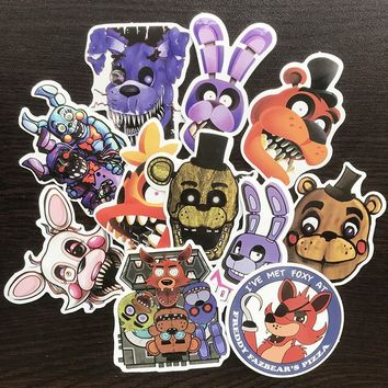 AQK 11Pcs/Lot Game  at Freddy Stickers PVC Graffiti Sticker For DIY Toy Notebook Luggage Laptop Phone Bike Car Decals