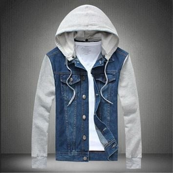 Hoodie men 2017 spring fashion men's cotton hoodie jeans jackets outerwear patchwork Denim Jacket Men Hoody Plus M-5XL
