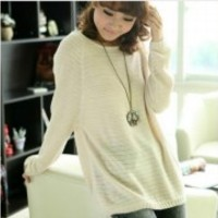 Ladies Batwing Round Neck Knitted Pullover Jumper Casual Loose Long Sweater New