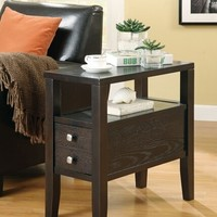 Espresso finish wood frame chair side end table with small drawer and lower shelf