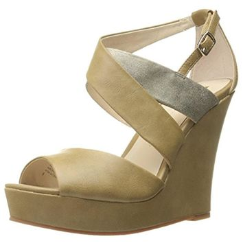BC Footwear Womens Flicker Faux Leather Metallic Wedge Sandals