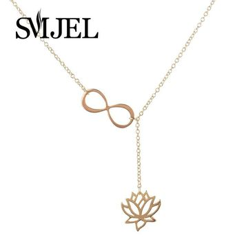 SMJEL New Fashion Infinity Lotus Lariat  Pendant Necklaces for Women Y Style Chain  Flower Jewelry Gift N043