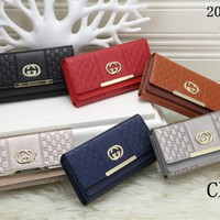 """Gucci"" Women Stitching Fashion Print Purse Long Section Button Flip Wallet"