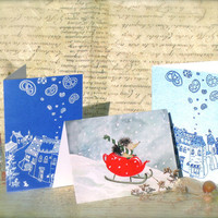 Christmas Greeting Cards set of 3 - Hedgehog Snowflakes Red Teapot Sleigh Holy Night & Pretzels Town