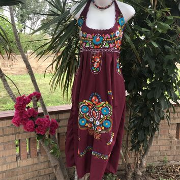 Mexican Traditional Embroidered Halter Dress Maroon