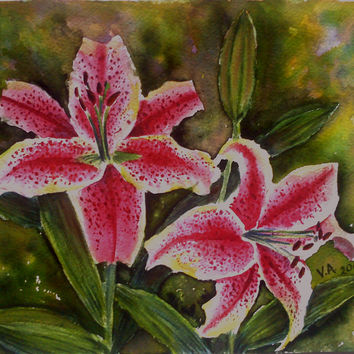 Original watercolor painting, watercolor art, watercolor lilium