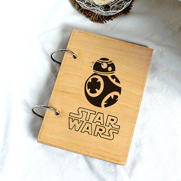 Star Wars Wooden Notebook Rustic Wood Notebook Valentines gifts Star Wars gifts