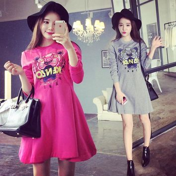 Mm2016 spring and autumn maternity clothing long-sleeve print medium-long plus velvet thickening maternity basic one-piece dress