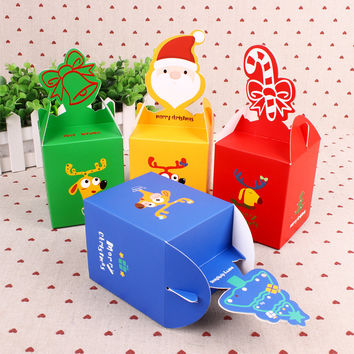 1PCS DIY Portable Christmas Apple Cookies Candy Gifts Box Paper Packaging Box Kids Party Favor Supplies Xmas Art Decoration
