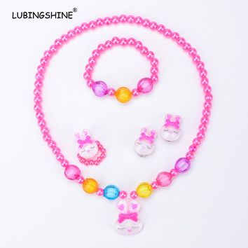 LUBINGSHINE Fashion Cute Child Earring Necklace Bracelet Finger Ring Jewelry Set Cute Little Rabbit For Kids Jewelry JJAL T226