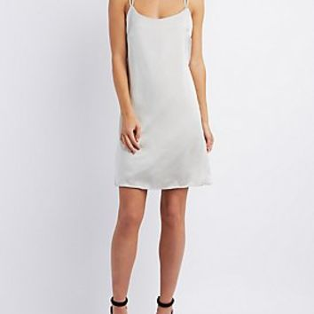TIE-BACK SATIN SHIFT DRESS