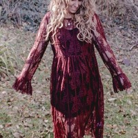 Priscilla Burgundy Lace Midi Dress
