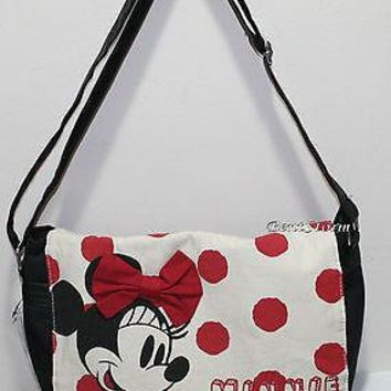 Licensed cool NEW Disney Minnie Mouse Canvas Hand Bag Crossbody Purse Red Bow Dots Loungefly