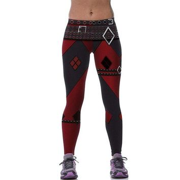 LMFON New 539 Sexy Girl leggins Suicide Squad Harley Quinn Belt Plaid Printed Polyester Elastic Fitness Workout Women Leggings Pants