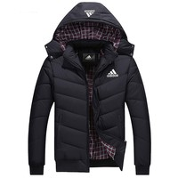 ADIDAS 2018 autumn and winter new plus velvet warm hooded cardigan down jacket Black