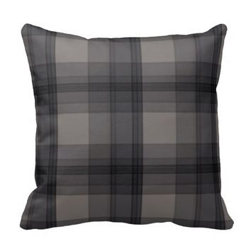 Classi Gray/Black Plaid Throw Pillow