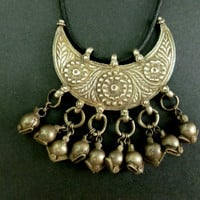 Rajasthan Antique Silver Carved Pendant wih Bells.Vintage Tribal Jewelry