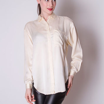Vintage 1990s off white cream long sleeve satin over size button down long sleeve blouse