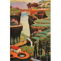 NOT DEPENDING ON THE SKY china propaganda poster 24X36 BEAUTIFUL landscape - PY1