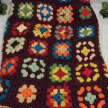 Vintage Granny Square Hand Crochet Afghan Throw Blanket 36 X 60