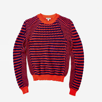 KENZO!!! Amazing 'Kenzo' red and blue multi pattern knitted sweater with contrast ribbed trims / Made in Italy